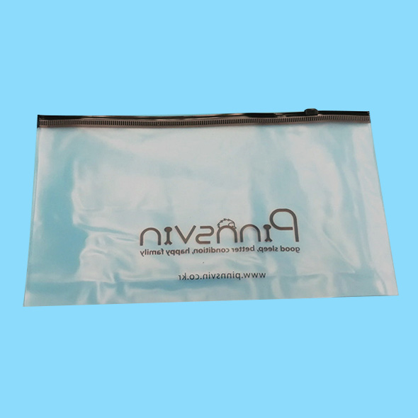 Clear frosted PVC zipper slider bag for cloth