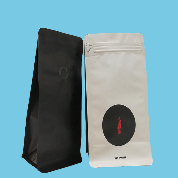 Box bottom pouch with valve for coffee packaging
