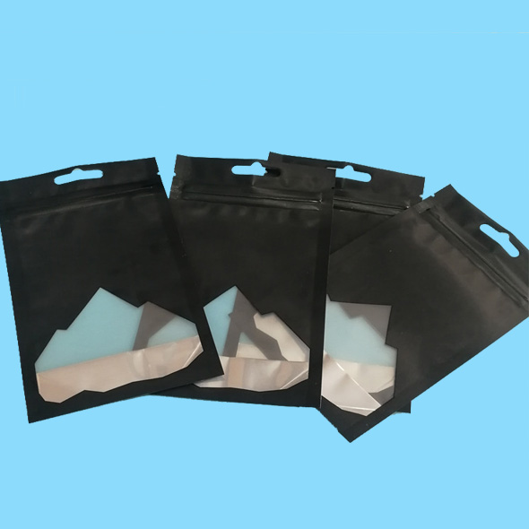 Black zipper lock mylar bags with clear see through window