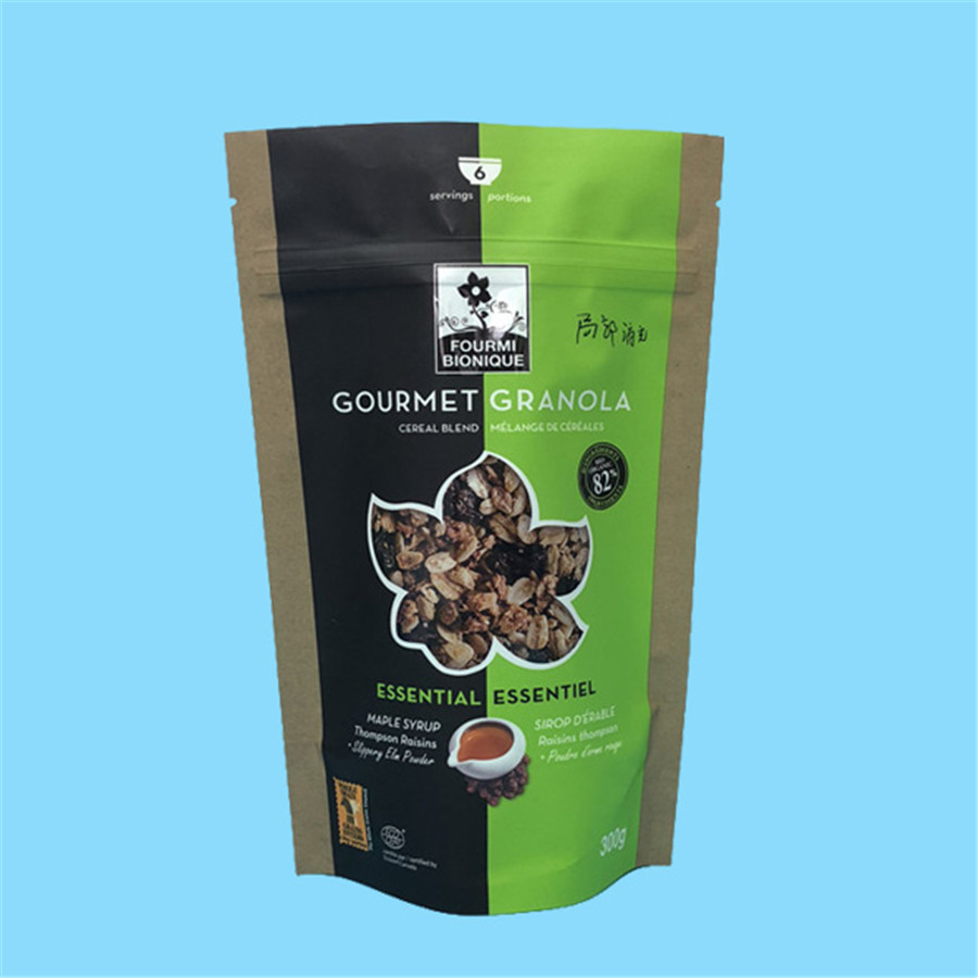 Customized printing granola packaging pouches with zipper
