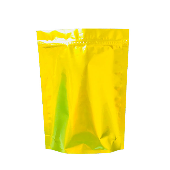 Gloss gold plastic resealable zipper mylar pouches