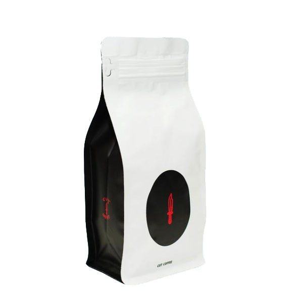 12 oz Resealable Matte White & Black Box Pouch Coffee Bag with valve