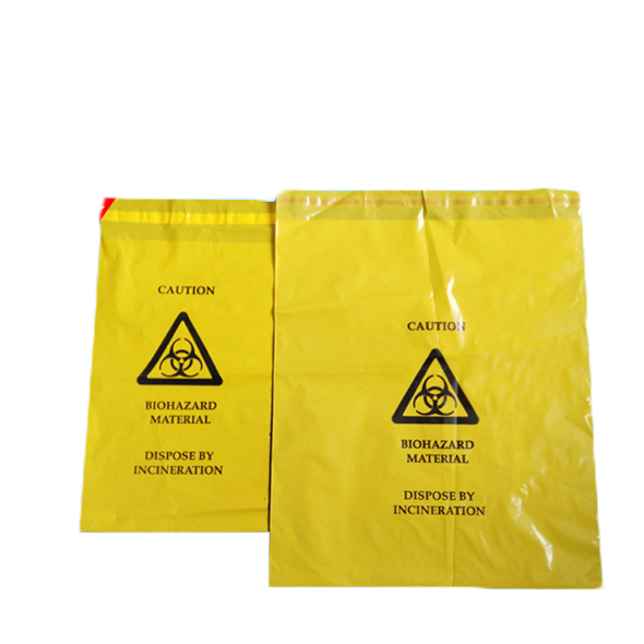 Plastic yellow self seal medical waste biohazard bags