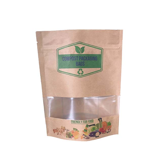 Compostable & Biodegradable PLA Lined Kraft Paper Pouch