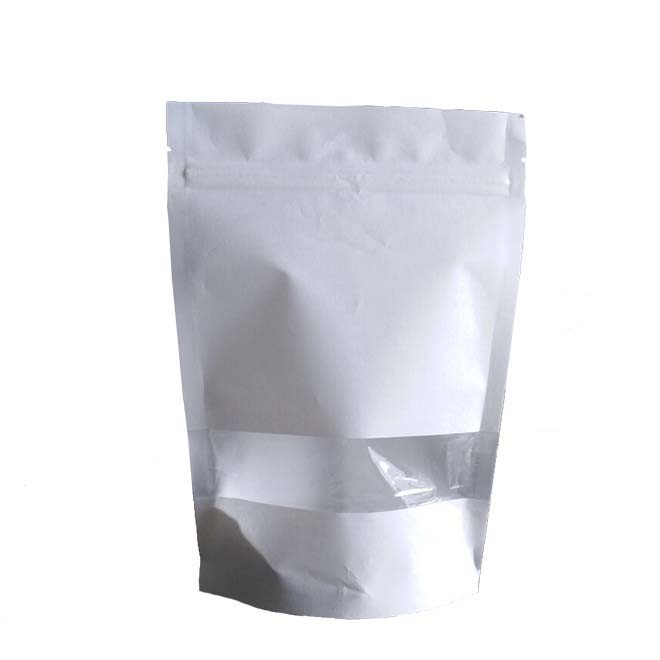 White Biodegradable Paper Pouch With Clear Window