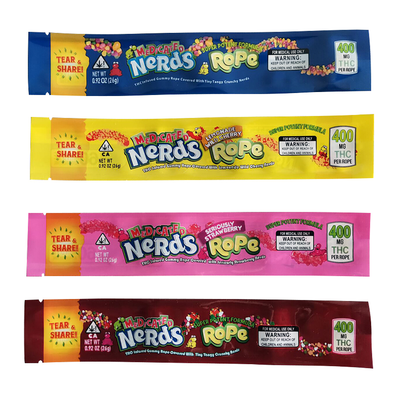 Empty Medicated Nerds Rope Bags In Mixed Design